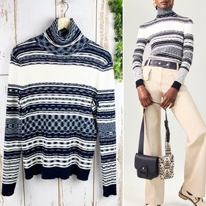 Tory Burch Ribbed Turtleneck Julie Sweater Navy